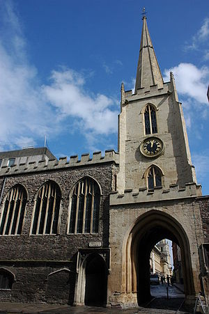 History of Bristol - Church of St John the Baptist with the tower over the city gateway.