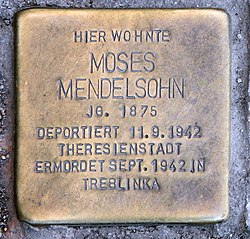 Photo of Moses Mendelsohn brass plaque