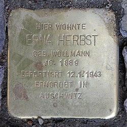 Photo of Erna Herbst brass plaque