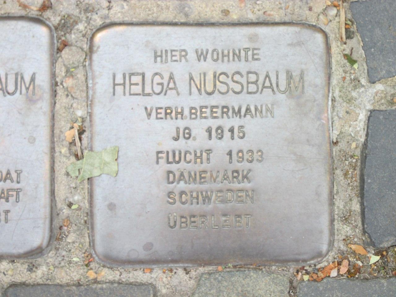 Stolperstein Helga Nussbaum, 1, Burgstraße 40, Bitterfeld, Bitterfeld-Wolfen, Landkreis Anhalt-Bitterfeld.jpg