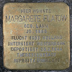 Photo of Margarete Flatow brass plaque