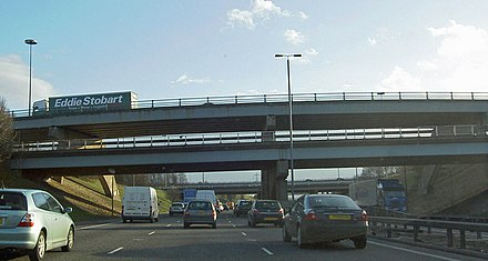 Stationary traffic at Lofthouse Interchange Stopped on the M1 Lofthouse interchange the bridges carry the M62 - geograph.org.uk - 722126.jpg