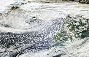 2015–16 UK and Ireland windstorm season - Satellite photo of Henry to the north-west on 1 February