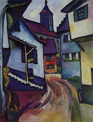 August Macke - Street with church in Kandern, 1911