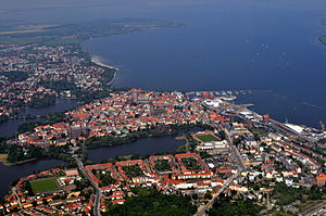 Stralsund - Aerial view of Stralsund and its world heritage old town island