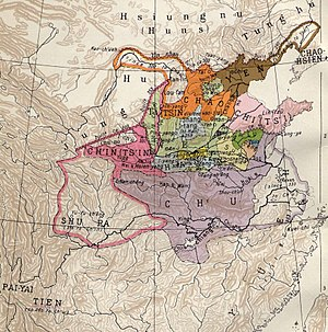Qin dynasty - Map of the Warring States. Qin is shown in pink