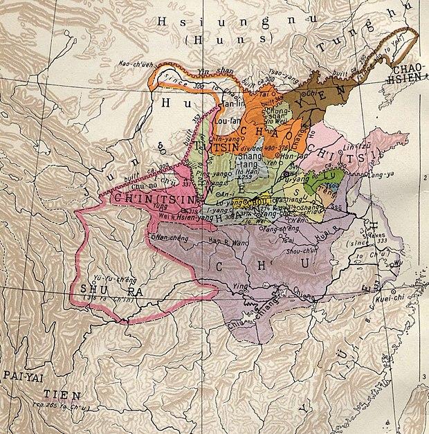 公元前350年战国时期地图(可见楚国侵占当时越国地)