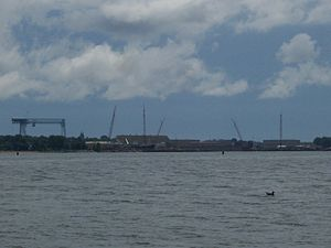Bay Shipbuilding Company - A view of Bay Shipbuilding from Potawatomi State Park, July 2008.