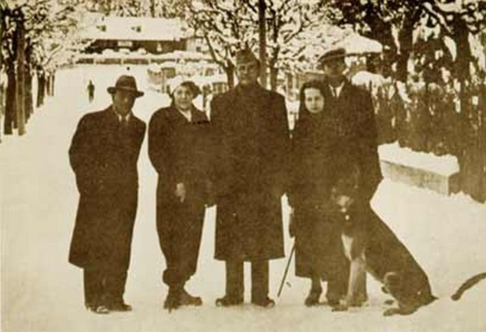 Subhas Bose with Emilie, Nambiar, and others, Bad Gastein, Austria, December 1937