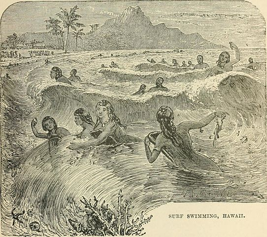 surfing illustration from The World's Inhabitants by G. T. Bettany (1888) – Hawaiian Ancient Surfing