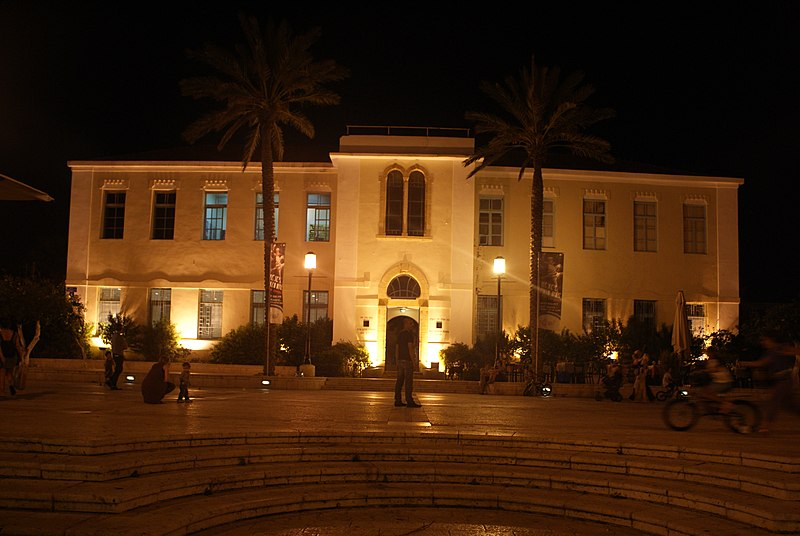 building with two palm trees in the front