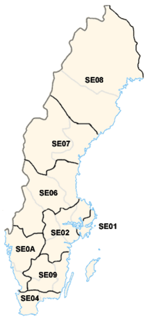 Counties of Sweden - Current statistical regions (riksområden).