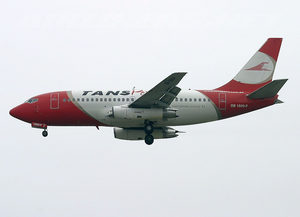 TANS Perú Flight 204 - OB-1809-P, the aircraft involved in the accident, seen at Jorge Chávez Int'l Airport on 3 August 2005.