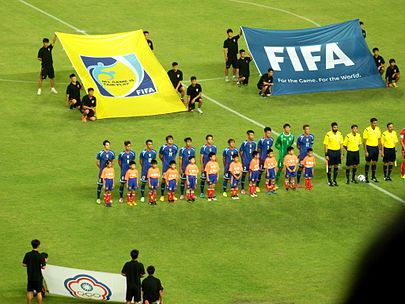 Taiwan against Thailand on 16 June 2015 in 2018 FIFA World Cup qualification - AFC Second Round TPE football team 20150616.jpg