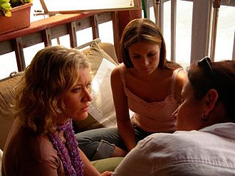 Katherine Brooks - The stars and Director on the set of Loving Annabelle, 2006