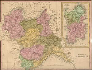 Italian irredentism in Nice - The Kingdom of Sardinia in 1839, with the Nizzardo in green at the bottom