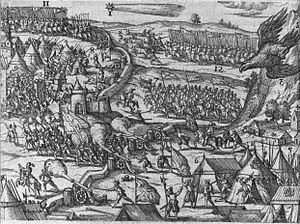 Michael the Brave - A contemporary illustration of Michael the Brave defeating the Turks at Târgovişte in October 1595