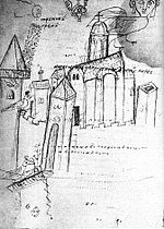 Clumsy black and white sketch of a medieval city with several towers and a large church visible