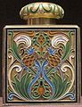 Tea caddy, silver gilt, opaque cloisonné enamel, House of Fabergé, before 1896.JPG