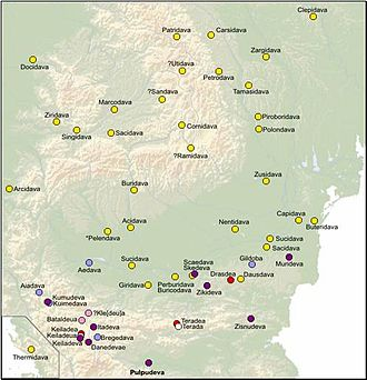 Onomastic range of the Dacian towns with the dava ending, covering Dacia, Moesia, Thrace and Dalmatia