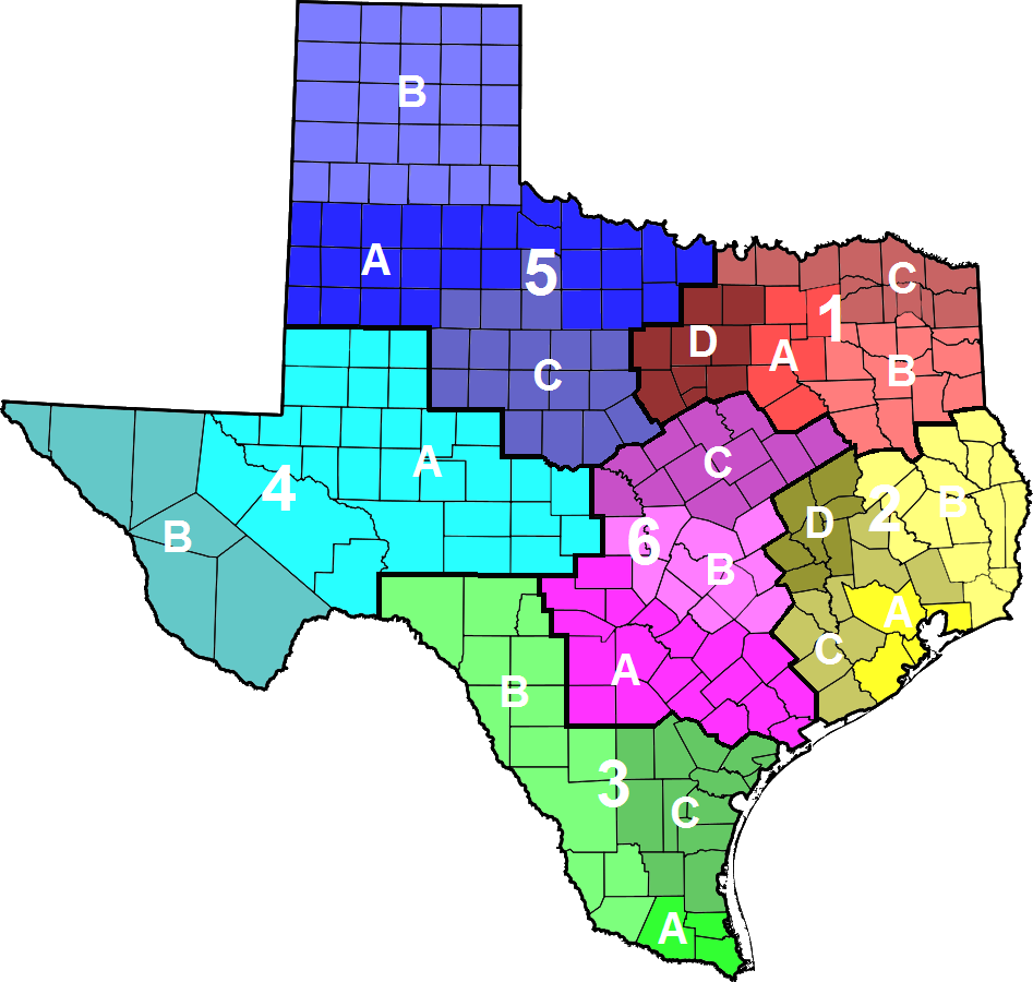 Texas Highway Patrol divisions map