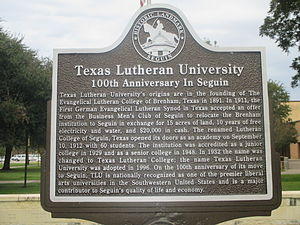 Texas Lutheran University - 100th anniversary sign of TLU in Seguin, unveiled 2011.