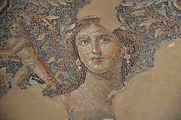 "The ""Mona Lisa of the Galilee"" (possibly Venus), part of the Dionysus mosaic floor in Sepphoris (Diocaesarea), Israel (15004387483)"