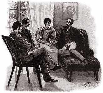 The Adventure of the Naval Treaty - Watson, Holmes, Anne Harrison and Percy Phelps, 1893 illustration by Sidney Paget