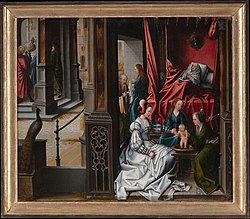 Bernard van Orley: The Birth and Naming of Saint John the Baptist; (reverse) Trompe-l'oeil with Painting of The Man of Sorrows