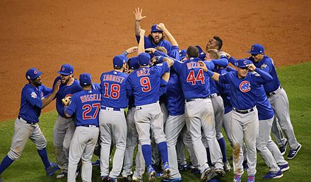 The Cubs celebrate after winning the 2016 World Series The Cubs celebrate after winning the 2016 World Series. (30709972906).jpg