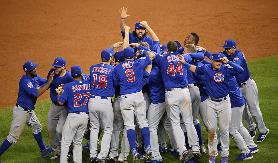 The Cubs celebrate after winning the 2016 World Series. (30709972906)