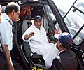The Defence Minister, Shri A. K. Antony at the cockpit of weaponised Dhruv Helicopter (Rudra) at static display of Rudra, at the Aero India 2013, in Bangalore on February 06, 2013.jpg