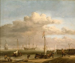 The Dutch coast with a weyschuit being launched and another vessel pushing offfrom the shore
