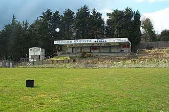 St. Leonards F.C. - View of the Main Stand at the Firs, after the ground became disused.