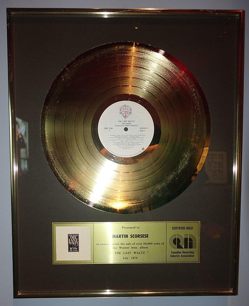 The Last Waltz CRIA gold certification.jpg
