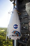 The Payload fairing with the two RBSP spaceprobes in it lifted to the top of the rocket.jpg