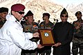 The President, Shri Ram Nath Kovind being presented a memento, during his visit to Siachen Base Camp on May 10, 2018. The Chief of Army Staff, General Bipin Rawat is also seen.JPG