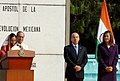 The President, Smt. Pratibha Devisingh Patil acknowledging the welcome speech of the President of Mexico, Shri Filipe Calderon Hinojosa, during the ceremonial reception, at Los Pinos, in Mexico City on April 17, 2008.jpg