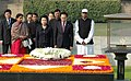 The President of Republic of Korea, Mr. Lee Myung Bak, and Mrs. Kim Yoon ok, paying homage at the Samadhi of Mahatma Gandhi, at Rajghat, in Delhi on January 25, 2010.jpg