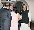 The President of the Republic of Tajikistan, Mr. Emomali Rahmon being received by the Minister of State for Defence, Dr. M.M. Pallam Raju on his arrival, at Air Force Palam Airport, in New Delhi on September 02, 2012.jpg