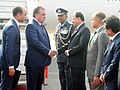 The President of the Republic of Tajikistan, Mr. Emomali Rahmon being received by the Minister of State for Defence, Shri Subhash Ramrao Bhamre, on his arrival, in New Delhi on December 16, 2016.jpg