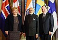 The Prime Minister, Shri Narendra Modi, the Prime Minister of Sweden, Mr. Stefan Lofven and Prime Minister of Norway, Ms. Erna Solberg at India-Nordic Summit, in Stockholm, Sweden on April 17, 2018.JPG