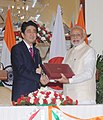 The Prime Minister, Shri Narendra Modi and the Prime Minister of Japan, Mr. Shinzo Abe at the signing ceremony, in New Delhi on December 12, 2015 (2).jpg