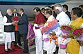 The Prime Minister, Shri Narendra Modi being received by the Governor of Andhra Pradesh and Telangana, Shri E.S.L. Narasimhan and the Chief Minister of Telangana, Shri K. Chandrasekhar Rao on his arrival, at Hyderabad.jpg