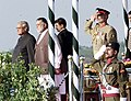 The Prime Minister Shri Atal Bihari Vajpayee alongwith the Prime Minister of Pakistan Mr. Mir Zafarullah Khan Jamali at the Saluting Dias to inspect Guard of Honour on his arrival at Islamabad to attend SAARC Summit on January 3.jpg