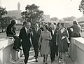 The Queen walks over the bridge at the University of Stirling, Wallace Monument in background.jpg