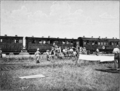 The Tale of a Field Hospital 1900 - Face page 30 - A hospital train being loaded up at Frere.png