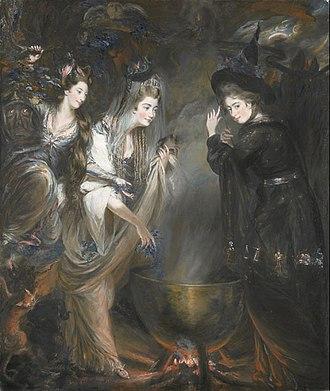 Daniel Gardner - Elizabeth Lamb, Viscountess Melbourne with Georgiana Cavendish, Duchess of Devonshire and Anne Seymour Damer in Witches Round the Cauldron, portrayed by Daniel Gardner in gouache (1775).