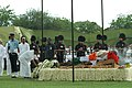 The Union Minister for Defence, Shri A K Antony laying wreath at the mortal remains of the former Prime Minister, shri Chandra Shekhar at the funeral pyre, in Delhi on July 09, 2007.jpg
