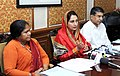 The Union Minister for Food Processing Industries, Smt. Harsimrat Kaur Badal interacting with the media about the Food Processing initiatives announced in the Budget, in New Delhi.jpg